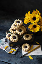 Image Chrysanthemums Cookies Wood planks Yellow Food