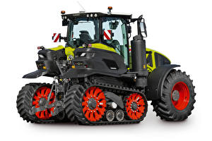 Hintergrundbilder Traktoren Seitlich Weißer hintergrund Claas Axion 930 Terra Trac, 2019-