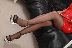 Picture Closeup Legs Stilettos Pantyhose Sit