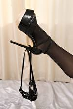 Photo Closeup Legs Stilettos Pantyhose Thongs young woman