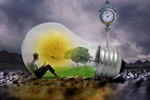 Bilder Kreative Mann Glühbirne Sitzt