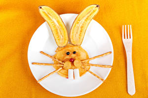 Wallpaper Creative Rabbit Bananas Hotcake Colored background Plate Fork Food