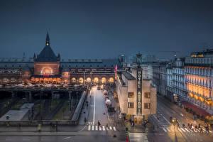 Wallpapers Denmark Copenhagen Building Evening Street HDR Cities