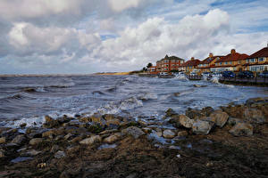 Images England Coast Houses Stones Waves Clouds Wirral Nature