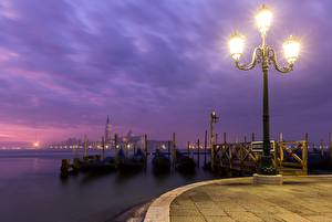 Pictures Evening Italy Street lights Waterfront Venice Cities