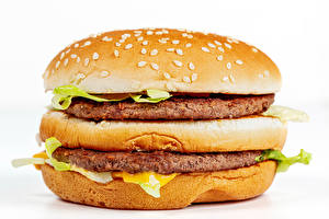 Wallpapers Fast food Hamburger Buns Frikadeller Closeup White background Food