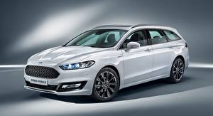 Wallpaper Ford Estate car White Mondeo, Turnier Vignale, 2016