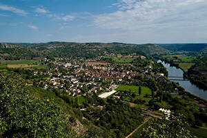 Picture France Rivers Houses Hill From above Cajarc Nature