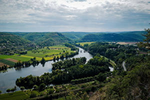 Wallpapers France Rivers Landscape photography Horizon Clouds Hill From above Cajarc