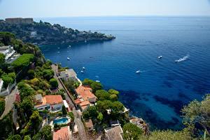 Обои Франция Море Катера Горизонт Залив Cap-d'ail, Provence Города картинки