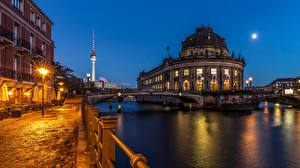 Image Germany Berlin Bridge Rivers Evening