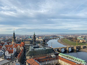 Pictures Germany Dresden Rivers Bridges Houses From above Cities