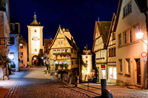 Wallpaper Germany Building Night time Street Lantern Rothenburg Cities