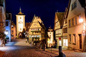 Wallpaper Germany Building Night time Street Lantern Rothenburg