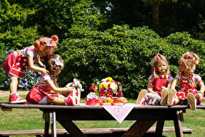 Pictures Germany Park Table Doll Little girls Dress Grugapark Essen Nature