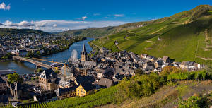 Picture Germany River Bridge Building Landscape photography Vineyard Hill Bernkastel-Kues Nature