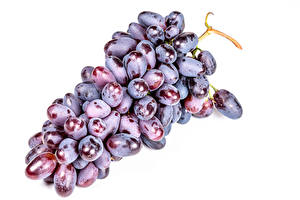 Pictures Grapes Closeup White background Food