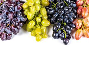 Photo Grapes Closeup White background Multicolor