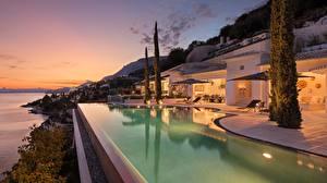 Pictures Greece Villa Evening Houses Pools corfu kaminaki Cities