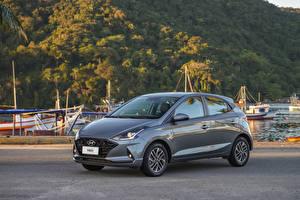 Hintergrundbilder Hyundai Graues Metallisch HB20 Diamond Plus, 2020 auto