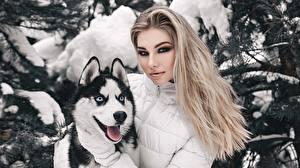 デスクトップの壁紙、、ブロンドの女の子、美しい、シベリアン・ハスキー、化粧、髪、Anton Kharisov, Anastasia Fogler、若い女性、動物、