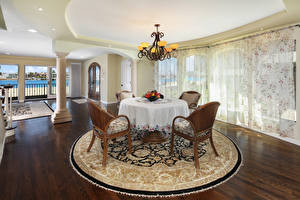 Wallpapers Interior Design Living room Table Chair Chandelier Rug