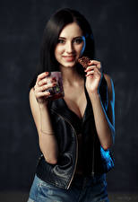 Picture Brunette girl Hands Mug Smile Staring Irina, Evgeniy Bulatov Girls