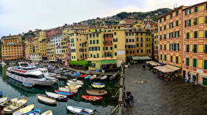 Image Italy Liguria Coast Houses Pier Riverboat Boats Motorboat Cotulo, Camogli Cities