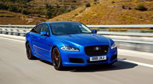 Image Jaguar Blue Blurred background Riding Sedan XJR575, LWB UK-spec, 2017 Cars