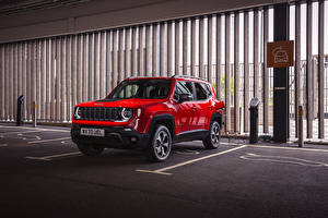 Pictures Jeep Sport utility vehicle Hybrid vehicle Red Metallic Parked 2020 Renegade Trailhawk 4xe auto