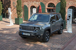 Image Jeep SUV Hybrid vehicle Grey Metallic 2020 Renegade Trailhawk 4xe automobile