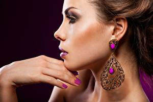 Picture Jewelry Side Makeup Hands Manicure Brown haired Girls