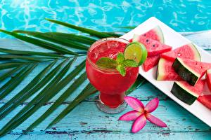 Pictures Juice Watermelons Highball glass Ice Food