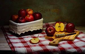 Wallpaper Knife Apples Tablecloth Cutting board Food