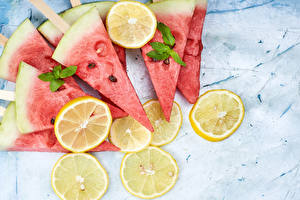 Images Lemons Watermelons Piece Food