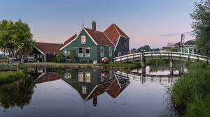 Image Netherlands Bridge Building Canal Zaandam, Noord-Holland