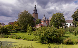 Wallpaper Netherlands Church Houses Towers Trees Zutphen