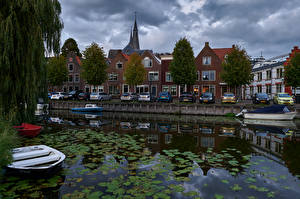 Photo Netherlands Houses Berth Canal Reflected Monnickendam Cities