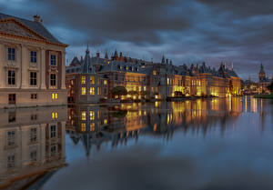 Photo Netherlands Houses Pond Evening The Hague, Hofvijver