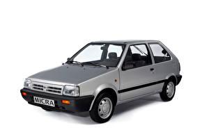 Обои Nissan Серый Металлик Белый фон Micra 3-door (K10), 1989–92 Автомобили картинки