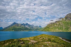 Wallpaper Norway Mountains Lofoten Clouds
