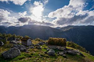 Hintergrundbilder Norwegen Berg Parks Stein Wolke Folgefonna National Park Natur