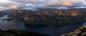 Fotos Norwegen Berg Bucht Laubmoose Wolke Rogaland