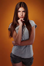 Image Viacheslav Krivonos Model Beautiful Brown haired Glance Hands T-shirt Shorts Female Olga