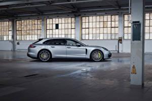 桌面壁纸,保时捷,金屬漆,側視圖,銀色,Panamera 4 E-Hybrid Sport Turismo, 2020,汽车,