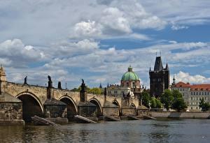 Picture Prague Czech Republic Bridge Rivers Charles Bridge Vltava Cities