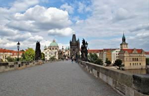 Hintergrundbilder Prag Tschechische Republik Brücke Skulpturen Karlsbrücke Straßenlaterne Charles Bridge