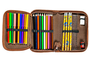 Pictures School White background Pencils Multicolor pencil case