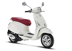 Обои Скутер Белых Белый фон Vespa Primavera 150 i.e. 3V, 2013–17