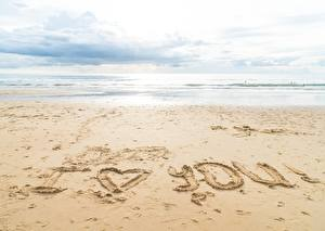 Wallpapers Sea Sand Beach Text English I love you